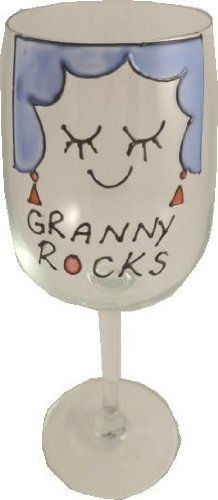 Granny Rocks Wine Glass by Folk Rock. $34.95. Gift Boxed. IF YOU WANT Nan, Nanny or any other name email us separately. A contemporary design on a tradtional sentiment with a twist!. Hand Painted in the UK. In relief with infills of colour.. Contemporary design on fully washable wine glasses standing 22cm high and holding 35cl of your favourite tipple.Hand Painted in the UK.Design and Wording as shown, comes gift boxed with a card of authenticity.