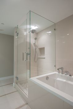 Shower by tub