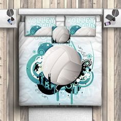 Volleyball In Teal Bedding Sports Pillows Sports By ProducstByMe