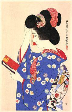 A woodblock print by Ito Shinsui, Hand Mirror, at Scholten Japanese Art. Kamakura, Modern Prints, Art Prints, Art Occidental, Japan Painting, Art Japonais, Korean Art, Art Moderne, Japanese Prints