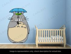 Totoro Inspired  Totoro Umbrella Wall Art Applique от carl895, $55.00