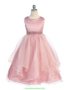 Dusty Rose Asymmetric Ruffle Satin Flower Girl Dress