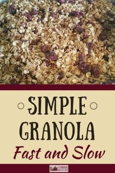 I love granola. It's so versatile. You can eat it as cereal or a snack, you can use it as topping for ice cream. I also love granola because it's simple to make. Here are two simple granola recipes that we use at our house.