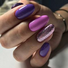 Nail art Christmas - the festive spirit on the nails. Over 70 creative ideas and tutorials - My Nails Purple Nail Designs, Nail Art Designs, Nail Polish, Nail Swag, Nagel Gel, Purple Nails, Bright Nails, Purple Makeup, Stylish Nails