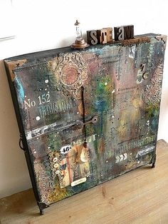 Grungy Pizza Box Canvas. Full tutorial and supplies. And yeah, it's really done on a pizza box.