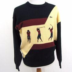 Chemise Lacoste Golf Sweater 4 Medium Cotton Embroidered Club Tee Off Crewneck #Lacoste #Crewneck