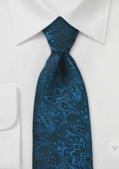 Dark Teal Blue Designer Tie