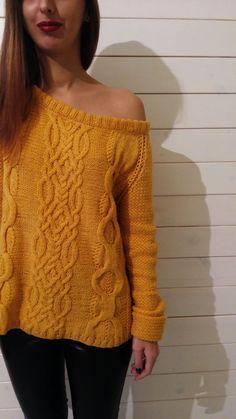 Amarillo suéter de punto suéter de punto tejido a por VAJUHandMade