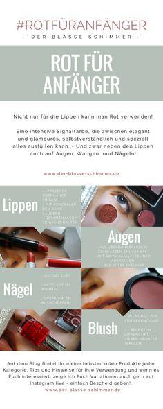 Auf dem Blog zeige ich Euch meine liebsten roten Produkte und gebe Hinweise und Tips zu ihrer Verwendung gerade - aber nicht nur - bei heller Haut. Concealer, Blog, Beauty, Light Skin, Red Color, Lips, Eyes, Products, Blogging