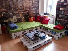 Here's a great way to re-use wodden pallets - turn them into attractive lounge furniture  Do it yourself and follow me around to get inspired by creative projects ideas, how to reuse, recycle, upcycle, repurpose, create materials :) let's go vintage