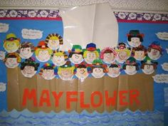 This is fun idea for a Thanksgiving bulletin board display. Create a large Mayflower boat and have each of your students design a pilgrim's face to sail on the Mayflower. Thanksgiving Bulletin Boards, November Bulletin Boards, Preschool Bulletin Boards, Classroom Bulletin Boards, Classroom Fun, Bullentin Boards, Thanksgiving Classroom Door, Classroom Walls, Classroom Projects