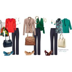 Mix-and-match work outfits, keep it interesting with accent colours and different neutrals