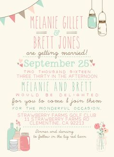 Rustic Wedding Invitation Suite DEPOSIT Vintage por SplashOfSilver