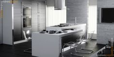 Modern kitchen white brick walls
