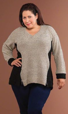 Highland Zipper Sweater / MiB Plus Size Fashion for Women / Fall Fashion / Oatmeal http://www.makingitbig.com/product/4922