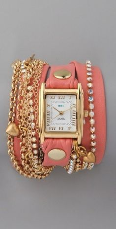 pink + gold watch