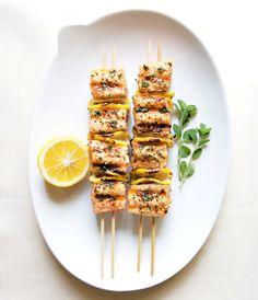 Spiced salmon kebabs from Bon Appétit Magazine, June 2013