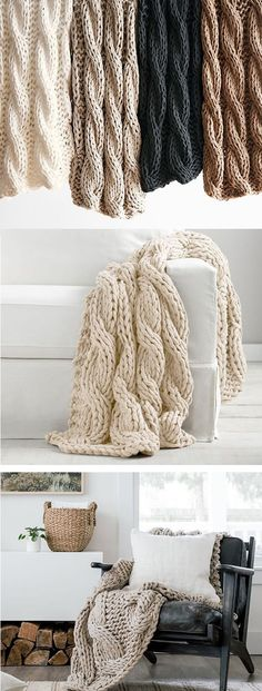 """Colossal Handknit Throw, 44 x 56"""", Ivory 