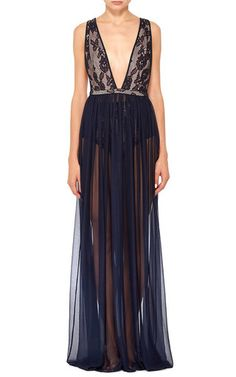 Lace Chiffon Plunge Gown by FLEUR DU MAL Now Available on Moda Operandi