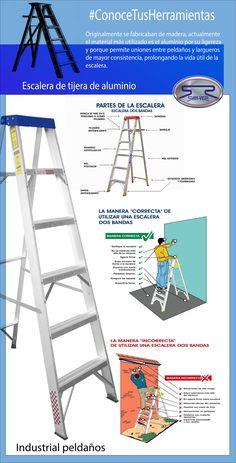 Conoce las partes de una escalera de tijera de aluminio y como usarla correctamente Industrial Engineering, Industrial Safety, Safety Pictures, Danger Signs, Construction Safety, Safety Topics, Safety Posters, Electrical Projects, Safety Training