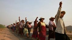 Villagers protest after their land was seized to allow for the expansion of a…