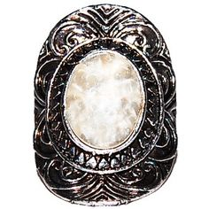 Pearlescent Stone & Medieval Silver Surround Ring