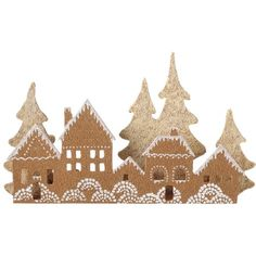 "Gingerbread House Village Décor. Doesn't lead to a craft demo but I'm thinking by looking at this picture it would be simple to make. Cardboard, box cutters/scissors, paint, puffy paint, maybe stamps, glitter, beads, scrap book paper/tissue/fabric to decorate your very own ""gingerbread"" village!"