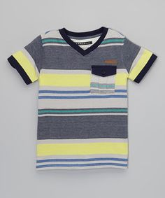 Another great find on #zulily! Navy & Yellow Stripe V-Neck Pocket Tee - Toddler & Boys by Sean John #zulilyfinds