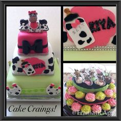 Moo la la themed baby shower cake, cupcakes and chocolate covered strawberries with ciroc vodka.