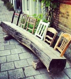 Log bench with old chair backs