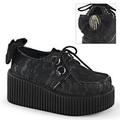 DEMONIA CREEPER-212 Lolita Goth Skeleton Platform Creepers Shoes