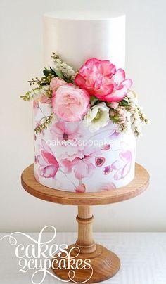Handpainted 2 tier wedding cake with fresh flowers