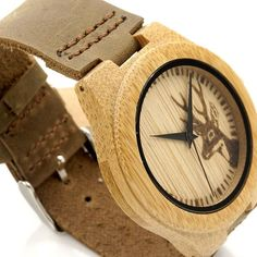 """Deer Head"" Bamboo Wood Quartz Watch (38mm)"