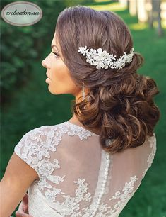 medium length wavy wedding hairstyle with headpieces / http://www.deerpearlflowers.com/25-incredibly-eye-catching-long-hairstyles-for-wedding/