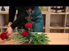 "OASIS® Floral Products ~ How To ~ Glad Tidings - Another great floral video hot to design flowers by Oasis (the floral foam company) - you could grab greens from outside trees and different pines to arrange a stunning ""live"" arrangement to bring to Christmas parties.  Alwyas good to have floral foam on hand of various shapes."