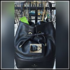 "%AUTHENTIC KATE SPADE HANDBAG NWT PXRU4356 ADORABLE BLACK KS HB, Lining: Polyester, 12.5"" X 10""X 5.5"", 9"" shoulder drop, Pebbled Cowhide leather, gold tone hardware, feet on bottom, Gathered  top w/bow tied, hidden magnetic closure, interior zip pkt, 2 open pkts  REASONABLE offers considered through OFFER feature! Original price 378, I purchased at Sale price 282.99! Kate Spade Bags"
