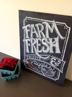 Hand Painted Kitchen Typography Chalkboard Art - Wall Art - 11 x 14 - Farm Fresh Chalkboard Sign. $68.00, via Etsy.