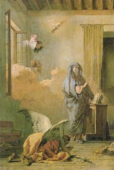"""The Annunciation"" by Tiepolo. Example of a contrapposto (twisted body pose)"