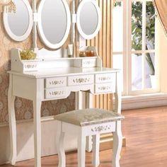 SEA120 http://www.emobili.ro/cumpara/sea120-set-masa-alba-toaleta-cosmetica-machiaj-oglinda-masuta-vanity-208 #eMobili