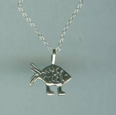 Sterling DARWINS FISH Pendant AND Chain  Walking by ShymaliLlamas, $24.95