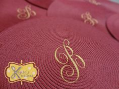 Cranberry red placemats with monogram by Kaycee's Kreations