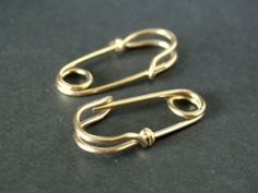 mini SAFETY PIN earrings in solid 14K yellow gold by muyinmolly, $130.00