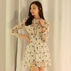 Luxe Asian Women Design Korean Model Fashion Style Marnier Ivory Dress