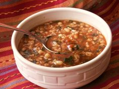 Savory Bean and Spinach Soup – we know what we're making for dinner tonight.