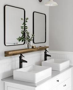 Inventive restructured bathroom redesign No Strings Attached Bathroom Bin, Bathroom Vanity, Small Bathroom, Bathroom Inspiration, Bathroom Decor, Vanity, Bathrooms Remodel, Barnwood Shelves, Vanity Shelves