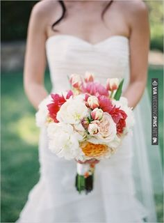 totally dreamy white and pink wedding bouquet by  and photo by | VIA #WEDDINGPINS.NET