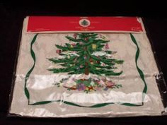 "Spode Christmas Tree Runner 14"" X 108"" by Spode. $34.99. Dimensions: N\A. Brand New - First Quality. Runner 14"" X 108"" - Festive Multi Color With Central Christmas Tree And Toys - Holly Sprigs - Off White Background - Wide Green Trim - Made In China"