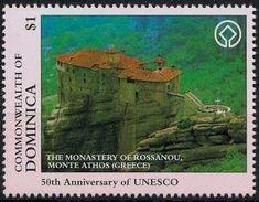 Stamp: Monastery of Rossanou, Mount Athos, Greece (Dominica) (50 years of UNESCO) Mi:DM 2271,Sn:DM 1921