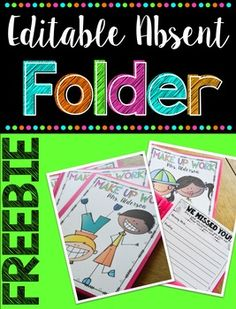 Make Up Work Folder {Editable} by Rowdy in Room 300   Teachers Pay Teachers