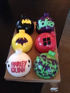 First set of ornaments I made for my comic tree. Batman, Batgirl, Joker, and Harley Quinn.